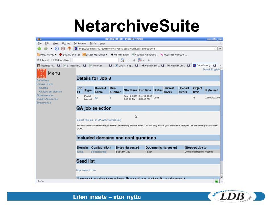 NetarchiveSuite Liten insats – stor nytta