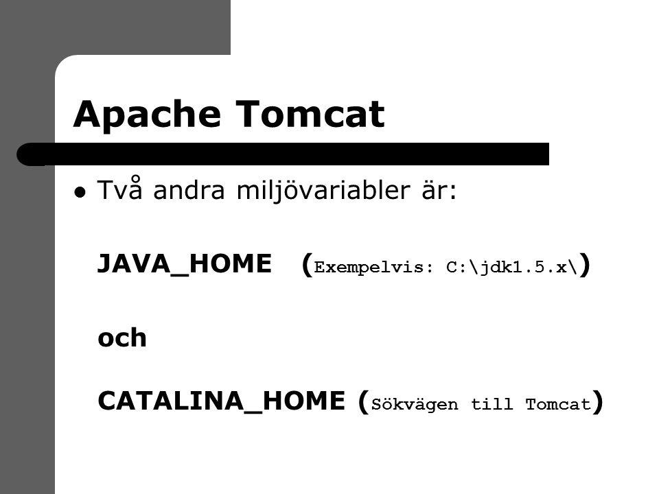 Apache Tomcat Två andra miljövariabler är:  JAVA_HOME ( Exempelvis: C:\jdk1.5.x\ )  och  CATALINA_HOME ( Sökvägen till Tomcat )