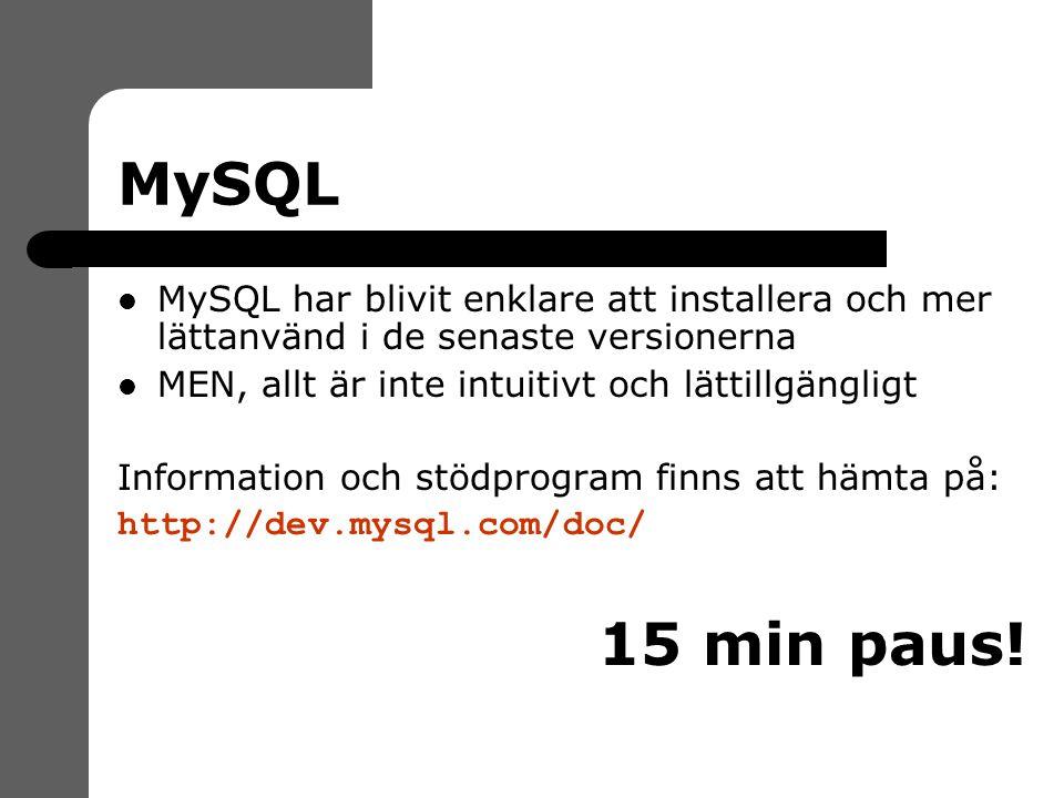 MySQL MySQL har blivit enklare att installera och mer lättanvänd i de senaste versionerna MEN, allt är inte intuitivt och lättillgängligt Information och stödprogram finns att hämta på: http://dev.mysql.com/doc/ 15 min paus!