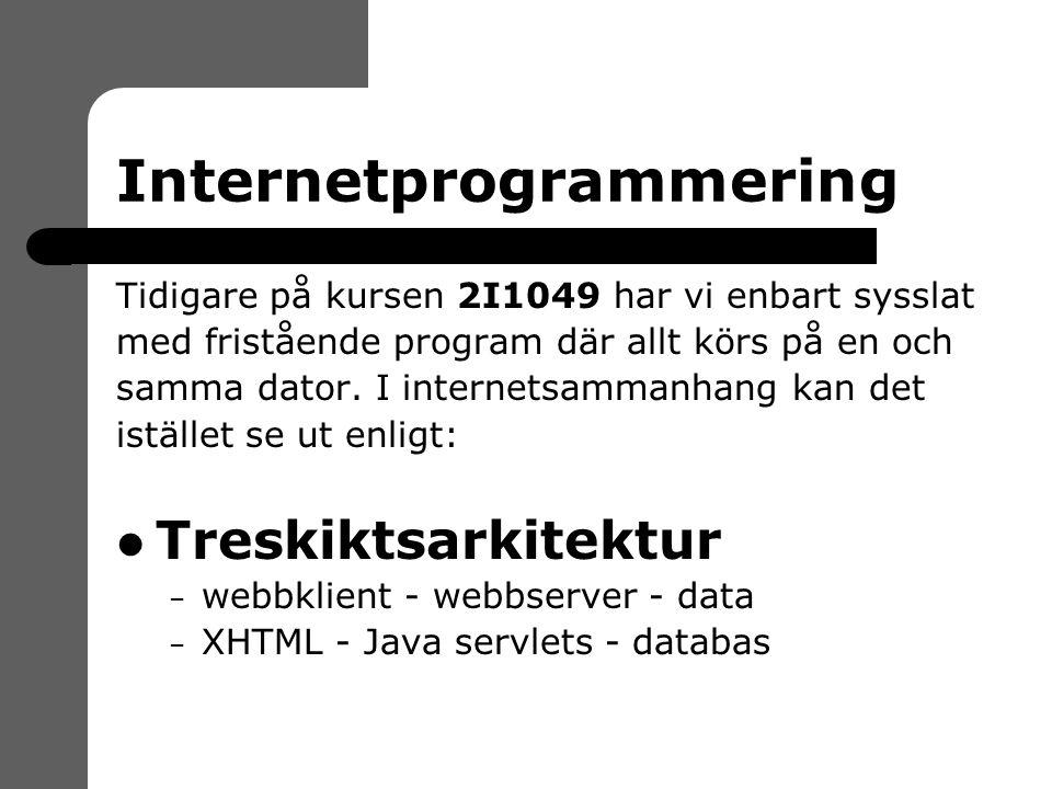 Internetprogrammering Tidigare på kursen 2I1049 har vi enbart sysslat med fristående program där allt körs på en och samma dator.