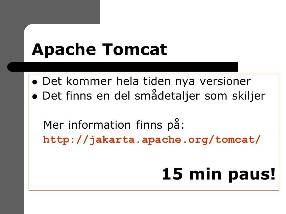 Apache Tomcat Det kommer hela tiden nya versioner Det finns en del smådetaljer som skiljer Mer information finns på: http://jakarta.apache.org/tomcat/ 15 min paus!