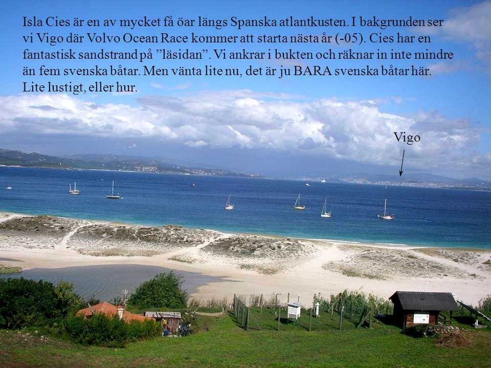 Isla Cies är en av mycket få öar längs Spanska atlantkusten. I bakgrunden ser vi Vigo där Volvo Ocean Race kommer att starta nästa år (-05). Cies har