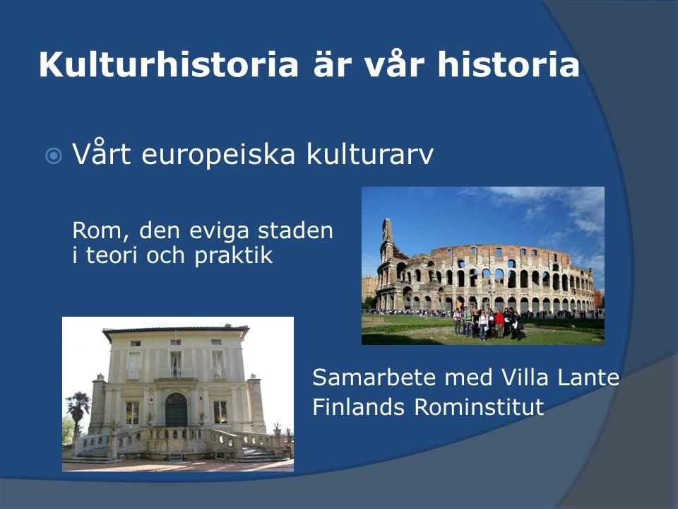 Kulturhistoria är vår historia  Vårt europeiska kulturarv Rom, den eviga staden i teori och praktik Samarbete med Villa Lante Finlands Rominstitut
