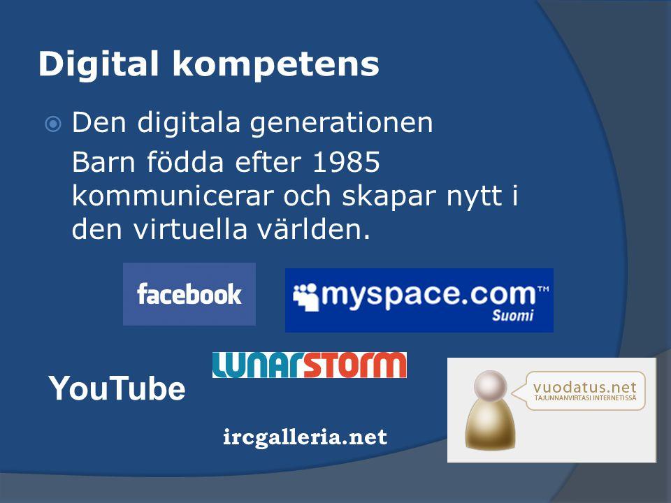 Digital kompetens  Den digitala generationen Barn födda efter 1985 kommunicerar och skapar nytt i den virtuella världen. YouTube ircgalleria.net