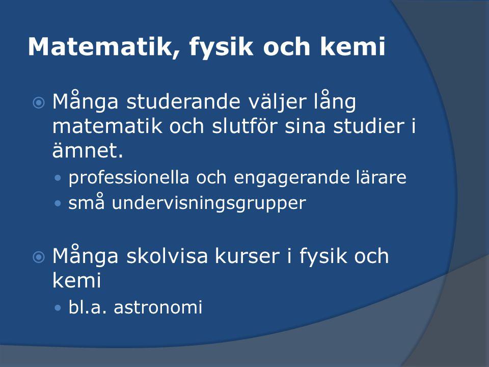 Matematik, fysik och kemi  Många studerande väljer lång matematik och slutför sina studier i ämnet. professionella och engagerande lärare små undervi