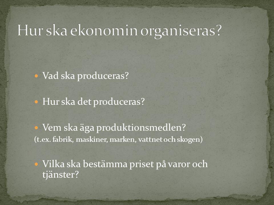 Vad ska produceras? Hur ska det produceras? Vem ska äga produktionsmedlen? (t.ex. fabrik, maskiner, marken, vattnet och skogen) Vilka ska bestämma pri