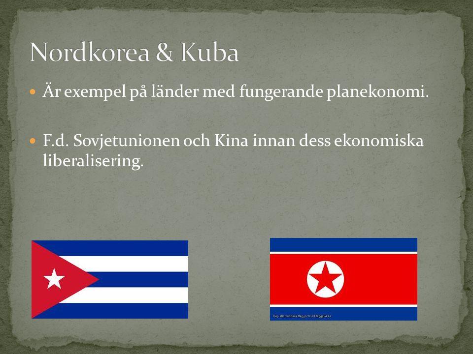 Är exempel på länder med fungerande planekonomi. F.d. Sovjetunionen och Kina innan dess ekonomiska liberalisering.