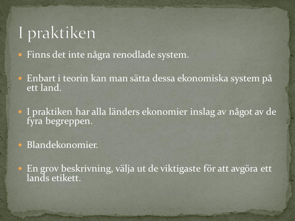 Finns det inte några renodlade system. Enbart i teorin kan man sätta dessa ekonomiska system på ett land. I praktiken har alla länders ekonomier insla