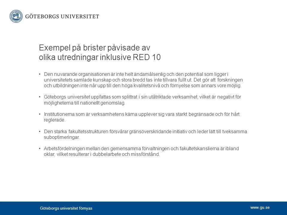 www.gu.se Exempel på brister påvisade av olika utredningar inklusive RED 10 Den nuvarande organisationen är inte helt ändamålsenlig och den potential