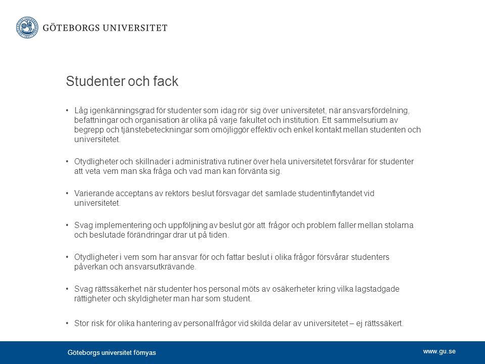 www.gu.se Studenter och fack Låg igenkänningsgrad för studenter som idag rör sig över universitetet, när ansvarsfördelning, befattningar och organisat