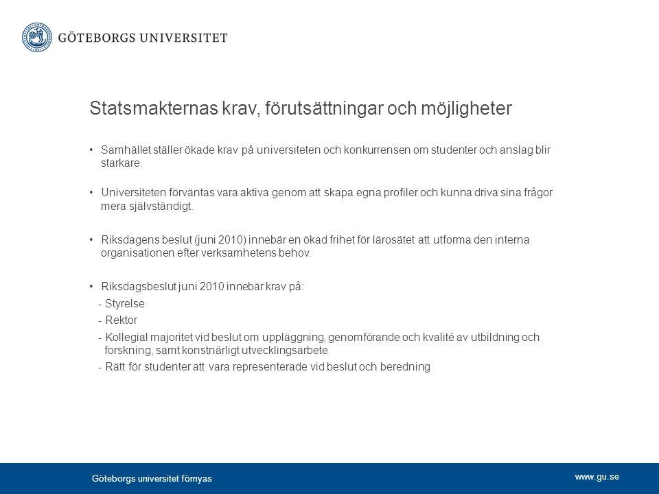 www.gu.se Statsmakternas krav, förutsättningar och möjligheter Samhället ställer ökade krav på universiteten och konkurrensen om studenter och anslag