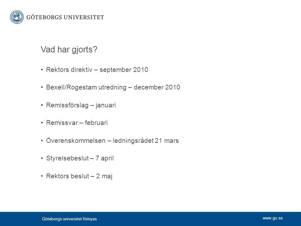 www.gu.se Vad har gjorts? Rektors direktiv – september 2010 Bexell/Rogestam utredning – december 2010 Remissförslag – januari Remissvar – februari Öve