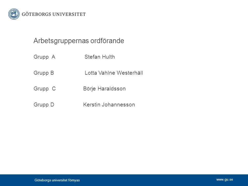 www.gu.se Göteborgs universitet förnyas Arbetsgruppernas ordförande Grupp A Stefan Hulth Grupp B Lotta Vahlne Westerhäll Grupp CBörje Haraldsson Grupp