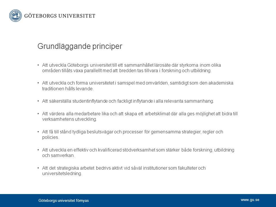 www.gu.se Grundläggande principer Att utveckla Göteborgs universitet till ett sammanhållet lärosäte där styrkorna inom olika områden tillåts växa para