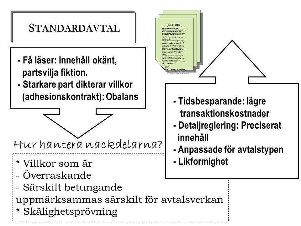 S TANDARDAVTAL - Få läser: Innehåll okänt, partsvilja fiktion. - Starkare part dikterar villkor (adhesionskontrakt): Obalans RR 86 REP Allmänna bestäm