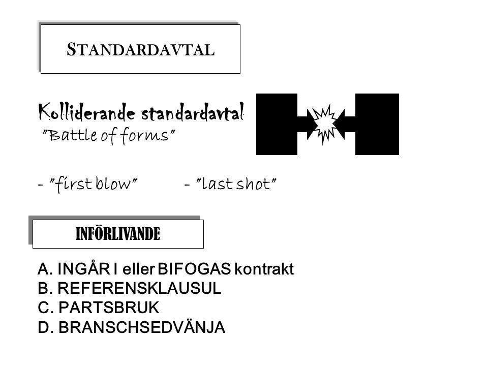 """INFÖRLIVANDE A. INGÅR I eller BIFOGAS kontrakt B. REFERENSKLAUSUL C. PARTSBRUK D. BRANSCHSEDVÄNJA S TANDARDAVTAL Kolliderande standardavtal """"Battle of"""