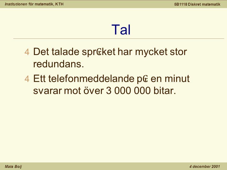 Institutionen för matematik, KTH Mats Boij 5B1118 Diskret matematik 4 december 2001 Tal 4 Det talade spr ₢ ket har mycket stor redundans.