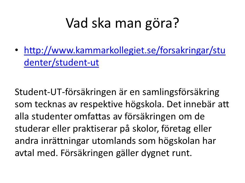 Vad ska man göra? http://www.kammarkollegiet.se/forsakringar/stu denter/student-ut http://www.kammarkollegiet.se/forsakringar/stu denter/student-ut St