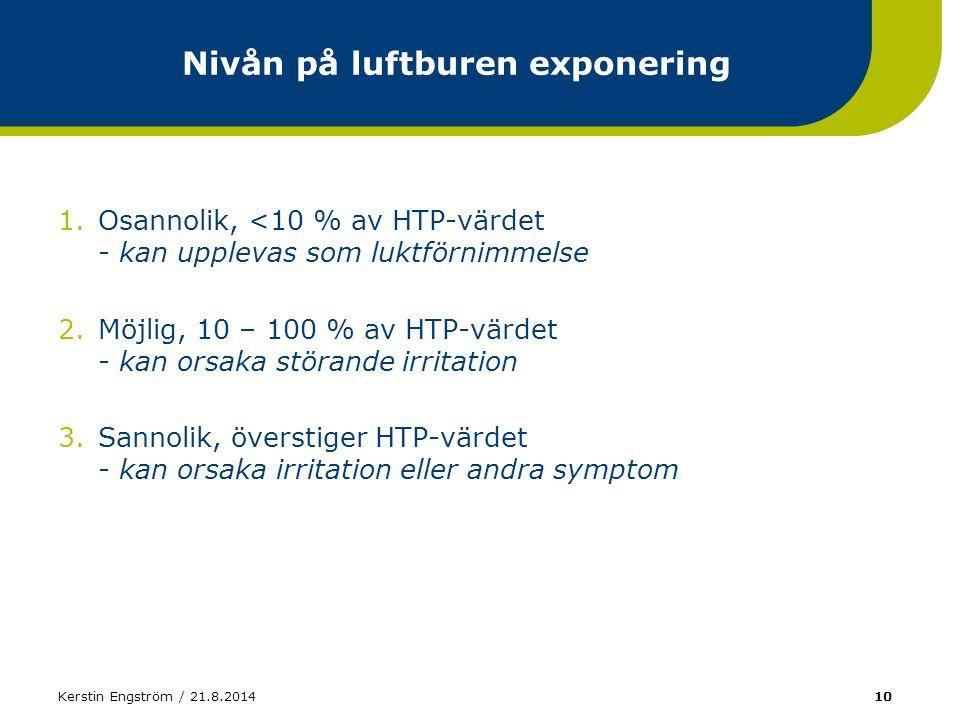 Kerstin Engström / 21.8.201410 Nivån på luftburen exponering 1.Osannolik, <10 % av HTP-värdet - kan upplevas som luktförnimmelse 2.Möjlig, 10 – 100 %