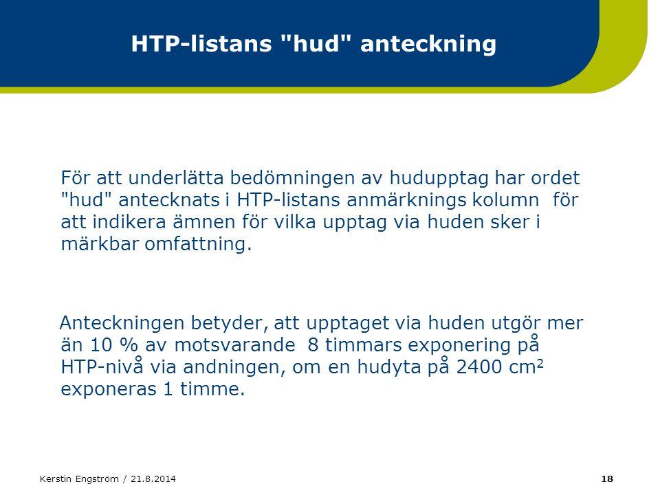 Kerstin Engström / 21.8.201418 HTP-listans
