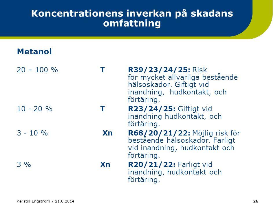 Kerstin Engström / 21.8.201426 Koncentrationens inverkan på skadans omfattning Metanol 20 – 100 %TR39/23/24/25: Risk för mycket allvarliga bestående h