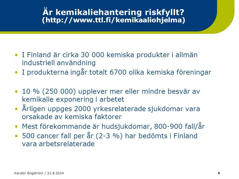 Kerstin Engström / 21.8.201425 Koncentrationens inverkan på skadans omfattning Saltsyra 25 - 100 %CR34: Frätande R37: Irriterar andningsorganen 10 - 25 %XiR36/37/38: Irriterar ögonen, andningsorganen och