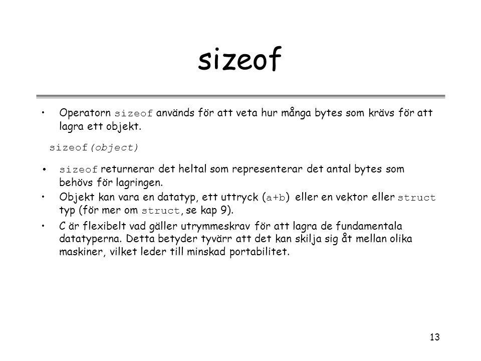 13 sizeof Operatorn sizeof används för att veta hur många bytes som krävs för att lagra ett objekt. sizeof(object) sizeof returnerar det heltal som re