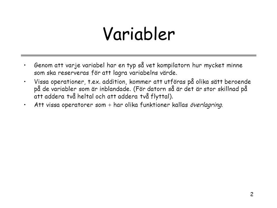 2 Variabler Genom att varje variabel har en typ så vet kompilatorn hur mycket minne som ska reserveras för att lagra variabelns värde. Vissa operation