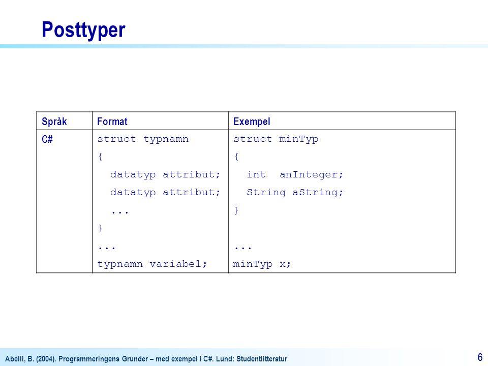 Abelli, B. (2004). Programmeringens Grunder – med exempel i C#. Lund: Studentlitteratur 66 Posttyper SpråkFormatExempel C# struct typnamnstruct minTyp