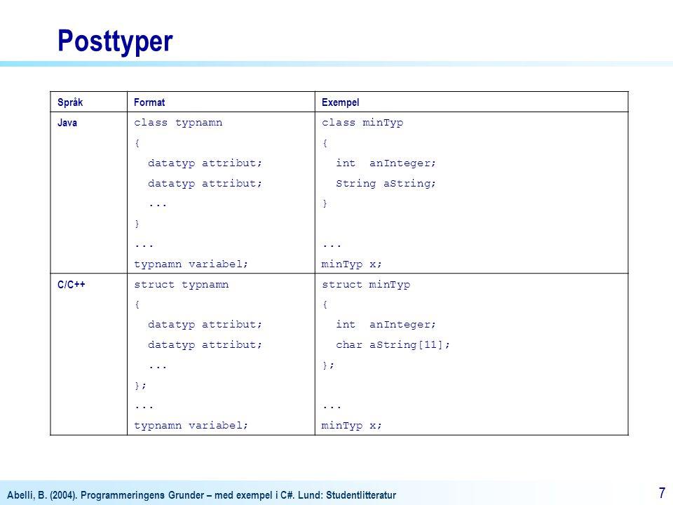 Abelli, B. (2004). Programmeringens Grunder – med exempel i C#. Lund: Studentlitteratur 77 Posttyper SpråkFormatExempel Java class typnamnclass minTyp