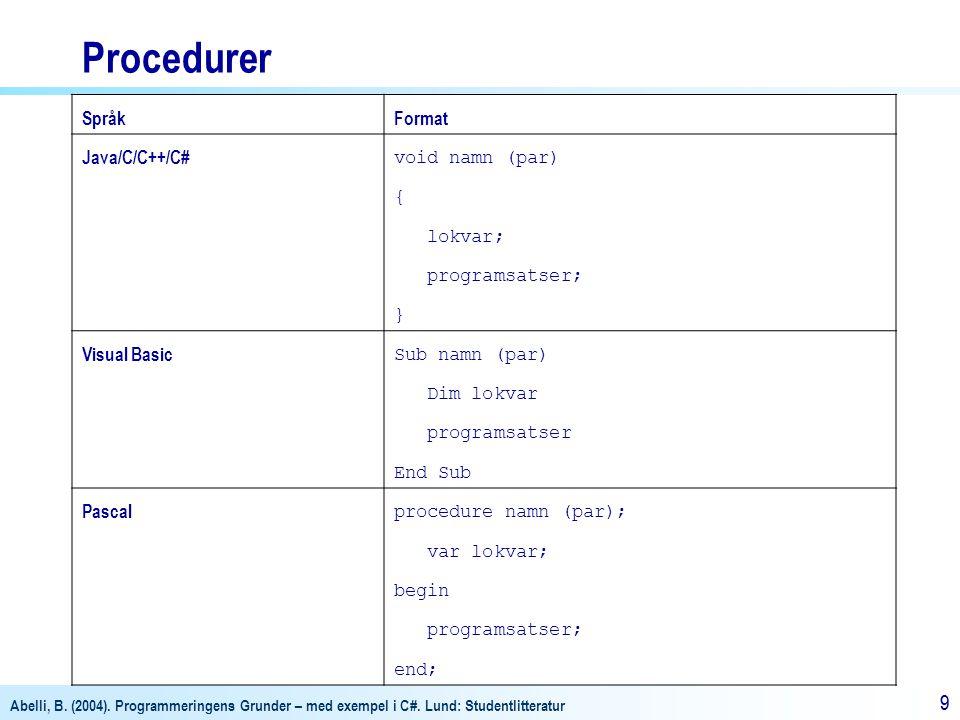 Abelli, B. (2004). Programmeringens Grunder – med exempel i C#. Lund: Studentlitteratur 99 Procedurer SpråkFormat Java/C/C++/C# void namn (par) { lokv