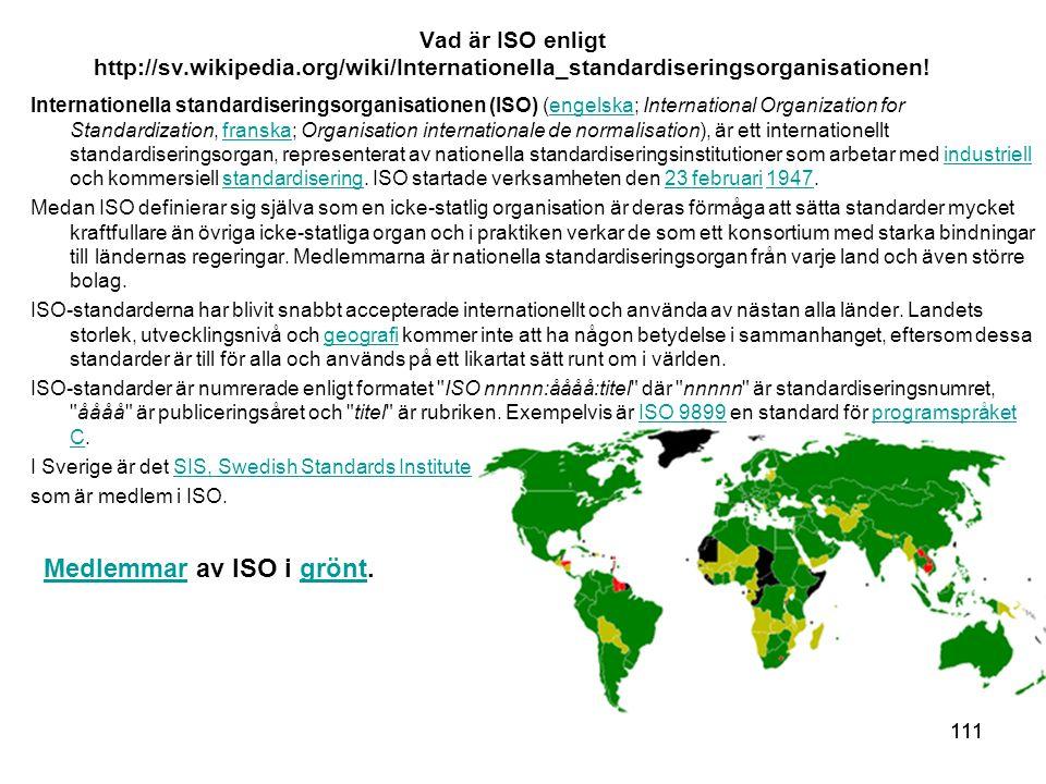 111 Vad är ISO enligt http://sv.wikipedia.org/wiki/Internationella_standardiseringsorganisationen.