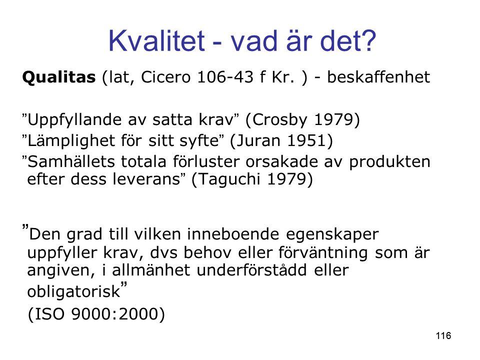116 Kvalitet - vad är det.Qualitas (lat, Cicero 106-43 f Kr.