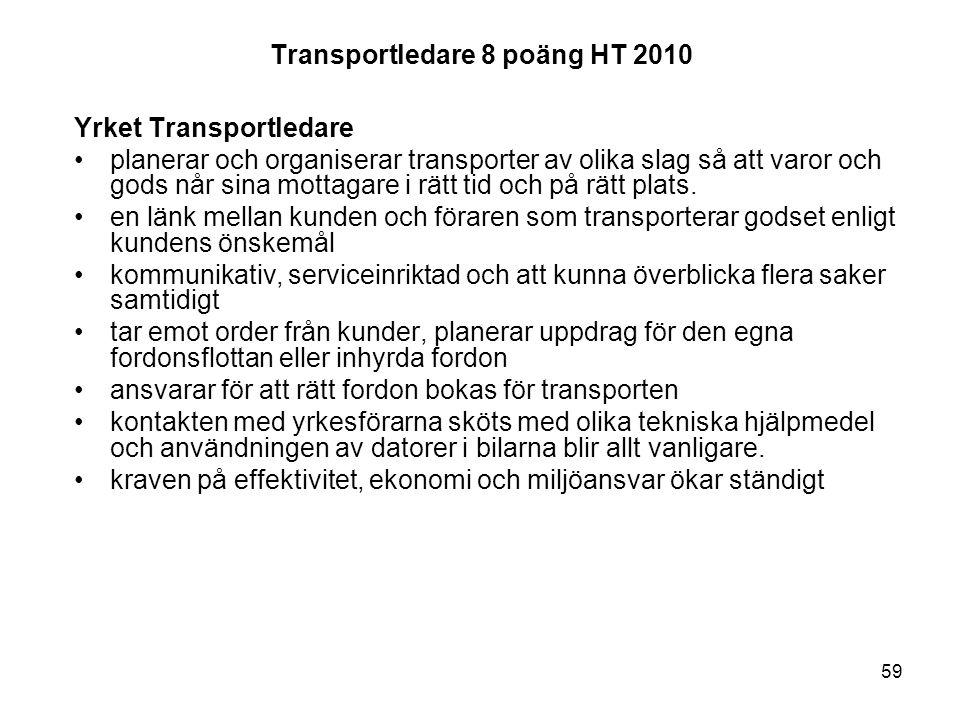 59 Transportledare 8 poäng HT 2010 Yrket Transportledare planerar och organiserar transporter av olika slag så att varor och gods når sina mottagare i rätt tid och på rätt plats.
