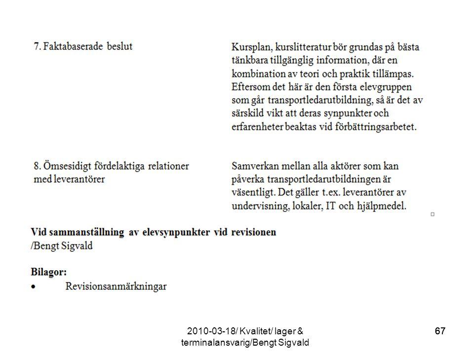 67 2010-03-18/ Kvalitet/ lager & terminalansvarig/Bengt Sigvald