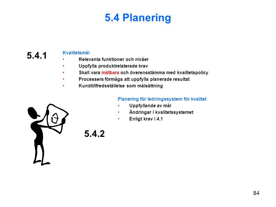 5.4.1 Kvalitetsmål Relevanta funktioner och nivåer Uppfylla produktrelaterade krav Skall vara mätbara och överensstämma med kvalitetspolicy Processers förmåga att uppfylla planerade resultat Kundtillfredsställelse som målsättning Planering för ledningssystem för kvalitet Uppfyllande av mål Ändringar i kvalitetssystemet Enligt krav i 4.1 5.4.2 5.4 Planering 84