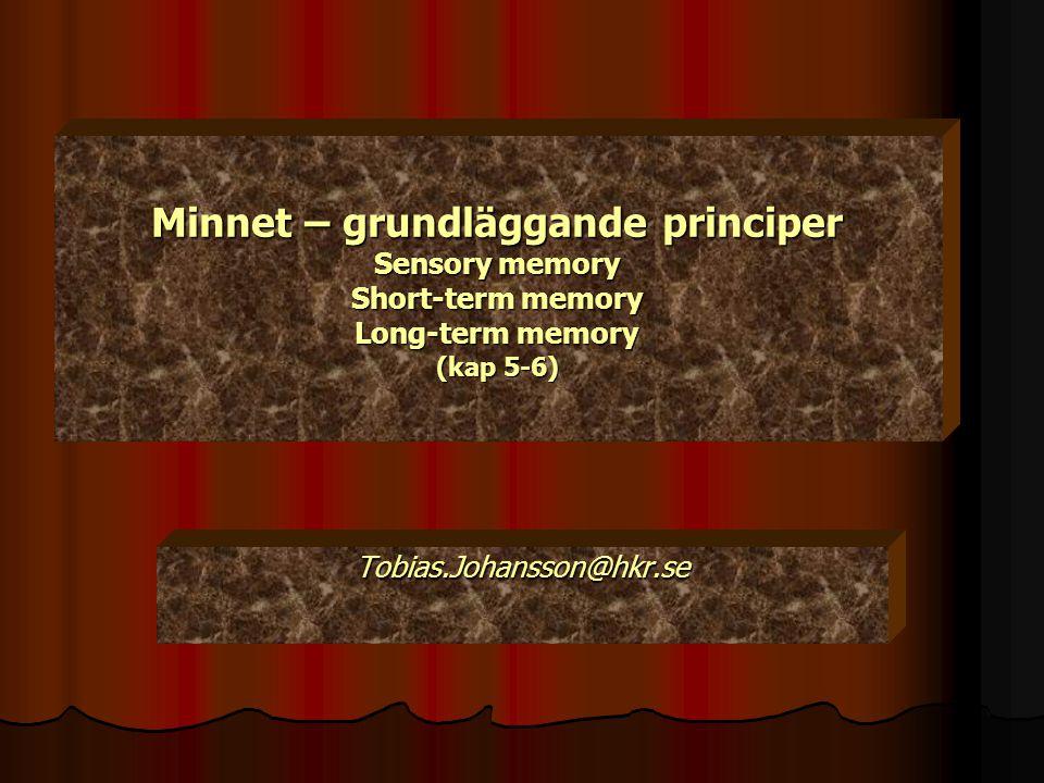 Minnet – grundläggande principer Sensory memory Short-term memory Long-term memory (kap 5-6) Tobias.Johansson@hkr.se