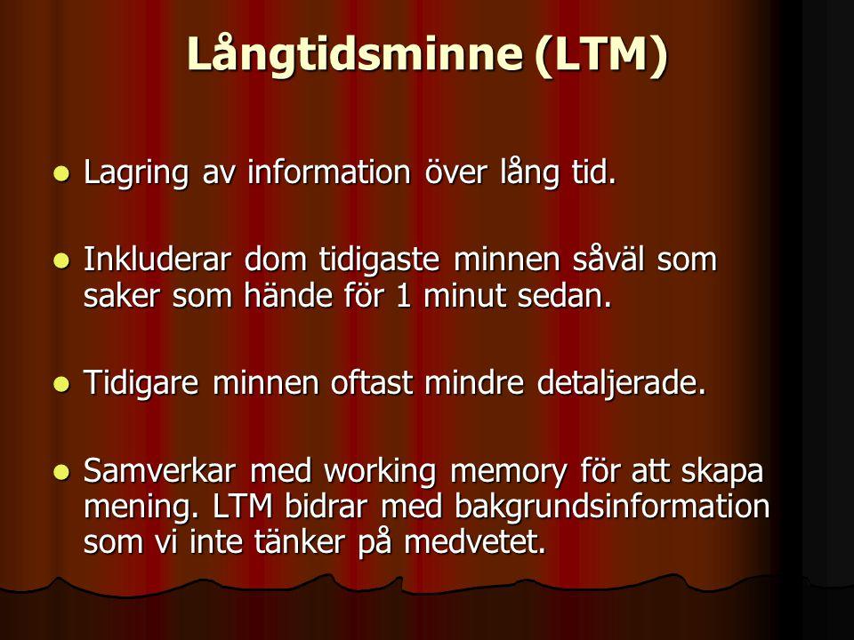 Långtidsminne (LTM) Lagring av information över lång tid. Lagring av information över lång tid. Inkluderar dom tidigaste minnen såväl som saker som hä