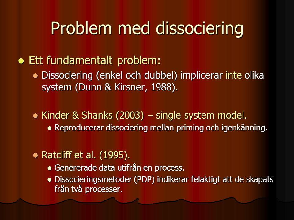 Problem med dissociering Ett fundamentalt problem: Ett fundamentalt problem: Dissociering (enkel och dubbel) implicerar inte olika system (Dunn & Kirs