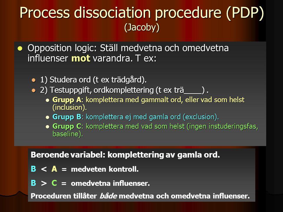 Process dissociation procedure (PDP) (Jacoby) Opposition logic: Ställ medvetna och omedvetna influenser mot varandra. T ex: Opposition logic: Ställ me