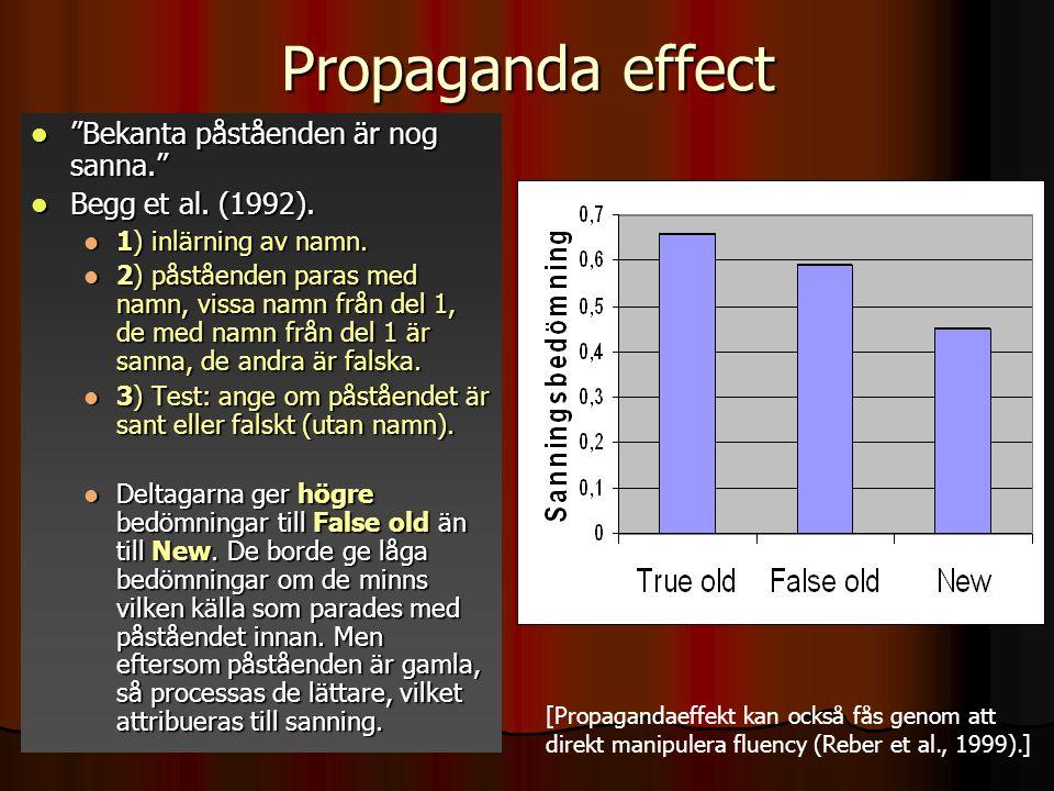 """Propaganda effect """"Bekanta påståenden är nog sanna."""" """"Bekanta påståenden är nog sanna."""" Begg et al. (1992). Begg et al. (1992). 1) inlärning av namn."""