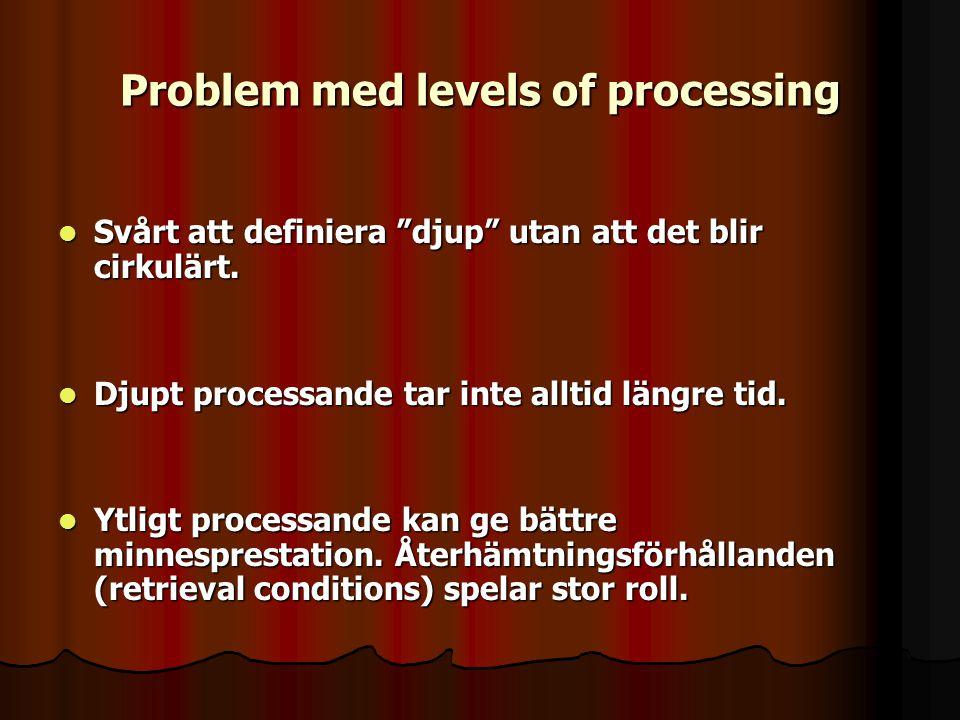 """Problem med levels of processing Svårt att definiera """"djup"""" utan att det blir cirkulärt. Svårt att definiera """"djup"""" utan att det blir cirkulärt. Djupt"""