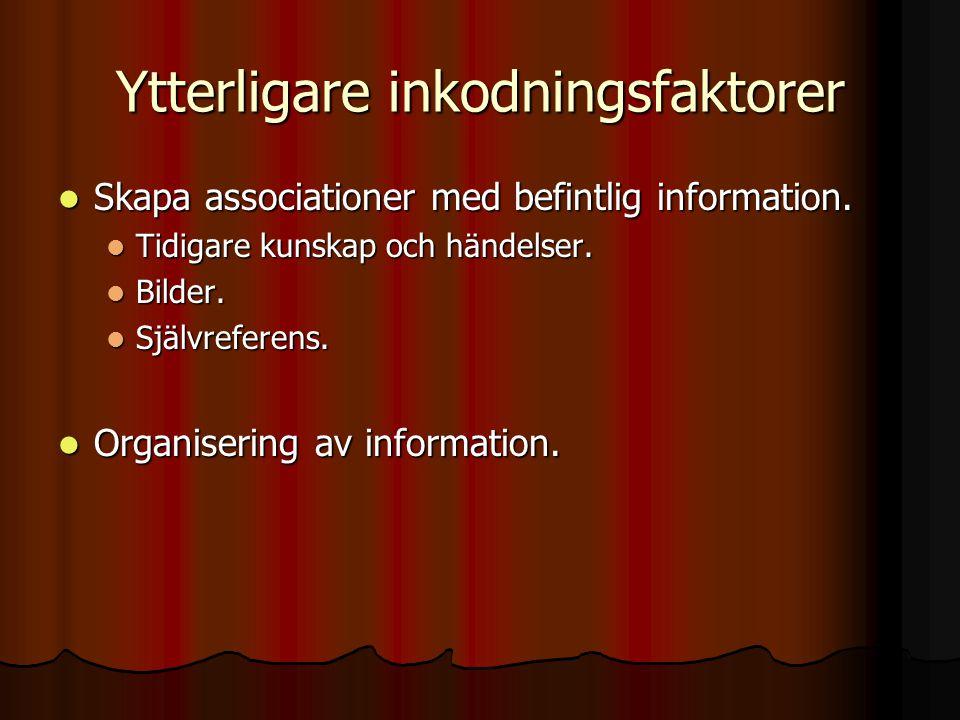 Ytterligare inkodningsfaktorer Skapa associationer med befintlig information. Skapa associationer med befintlig information. Tidigare kunskap och händ
