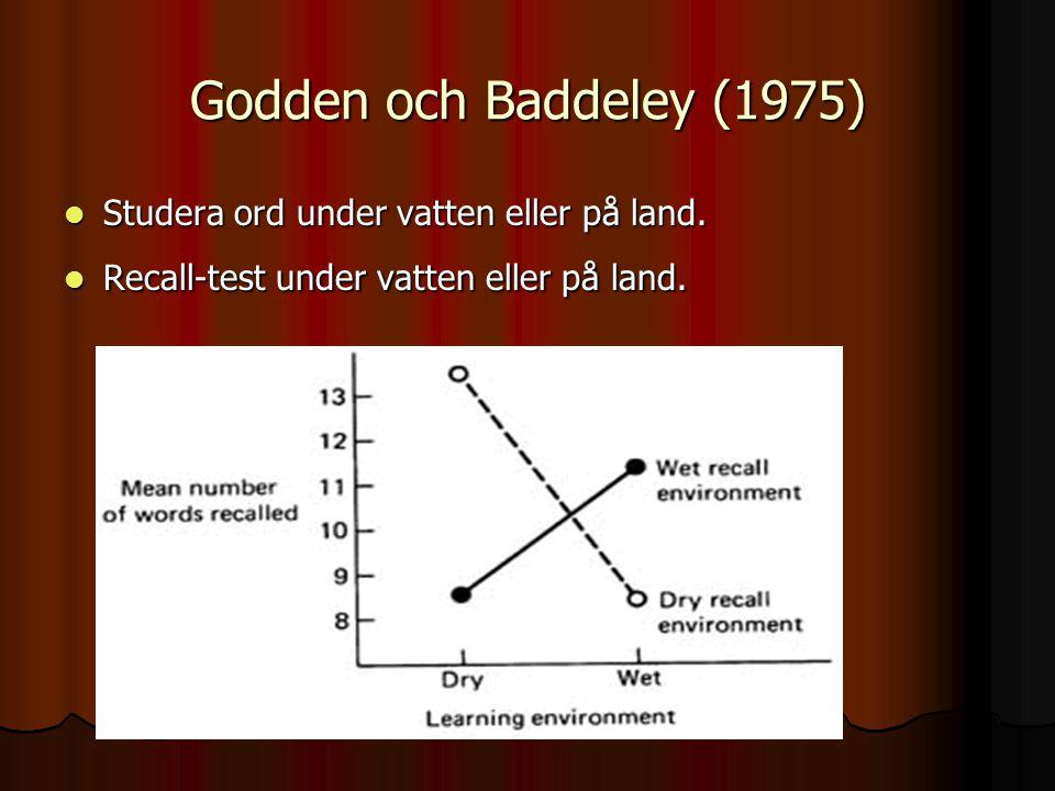 Godden och Baddeley (1975) Studera ord under vatten eller på land. Studera ord under vatten eller på land. Recall-test under vatten eller på land. Rec