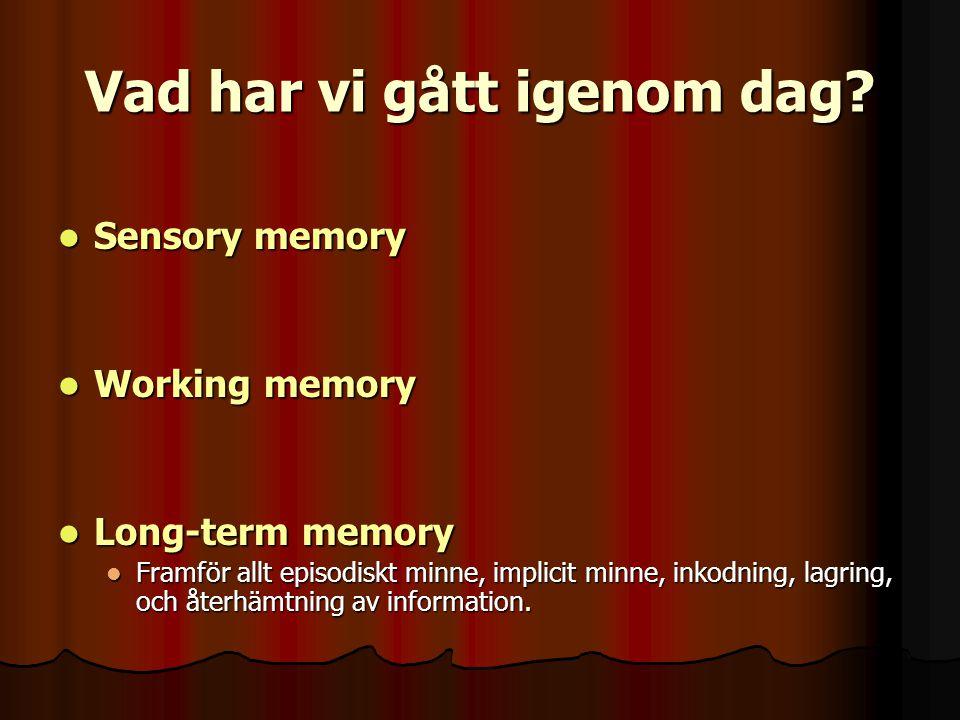 Vad har vi gått igenom dag? Sensory memory Sensory memory Working memory Working memory Long-term memory Long-term memory Framför allt episodiskt minn
