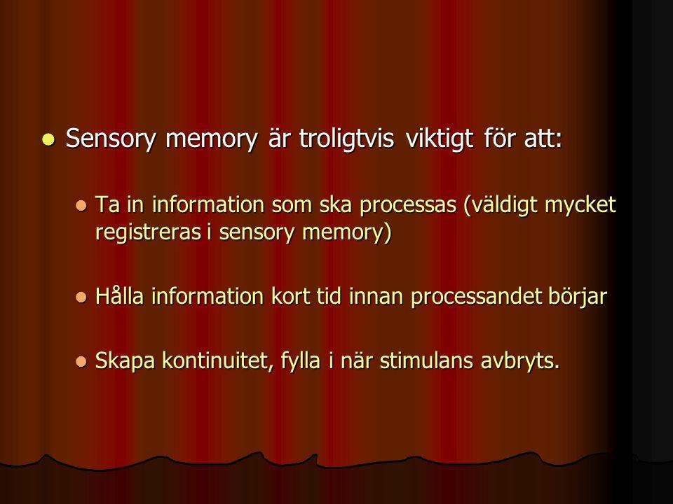 Sensory memory är troligtvis viktigt för att: Sensory memory är troligtvis viktigt för att: Ta in information som ska processas (väldigt mycket regist