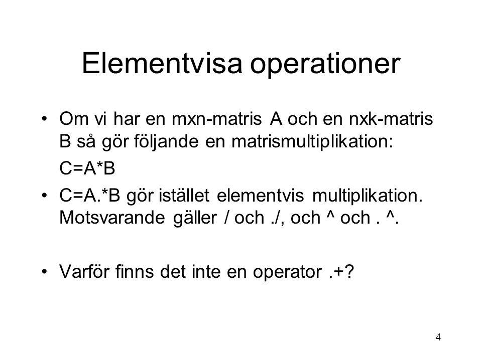 4 Elementvisa operationer Om vi har en mxn-matris A och en nxk-matris B så gör följande en matrismultiplikation: C=A*B C=A.*B gör istället elementvis