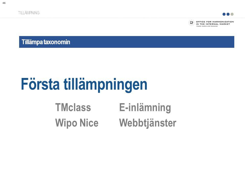 Tillämpa taxonomin Första tillämpningen TILLÄMPNING TMclassE-inlämning Wipo NiceWebbtjänster 46