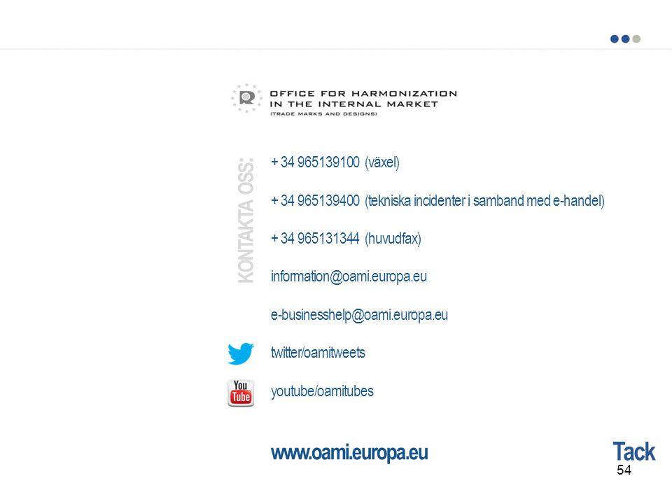 Tack + 34 965139100 (växel) + 34 965139400 (tekniska incidenter i samband med e-handel) + 34 965131344 (huvudfax) information@oami.europa.eu e-busines