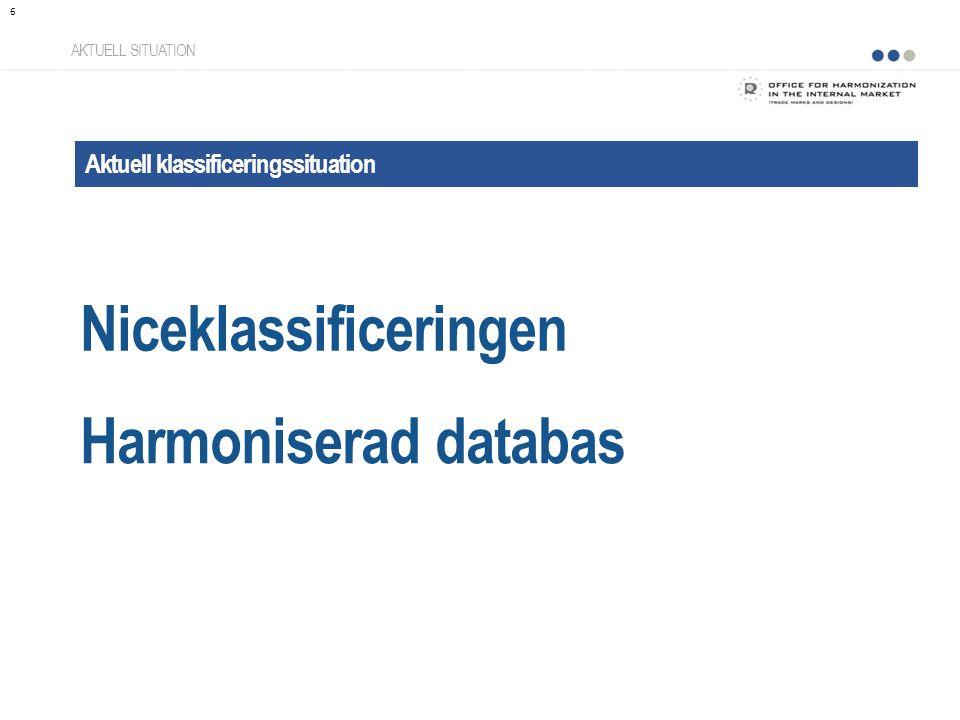 Niceklassificeringen AKTUELL SITUATION Aktuell klassificeringssituation Harmoniserad databas 6